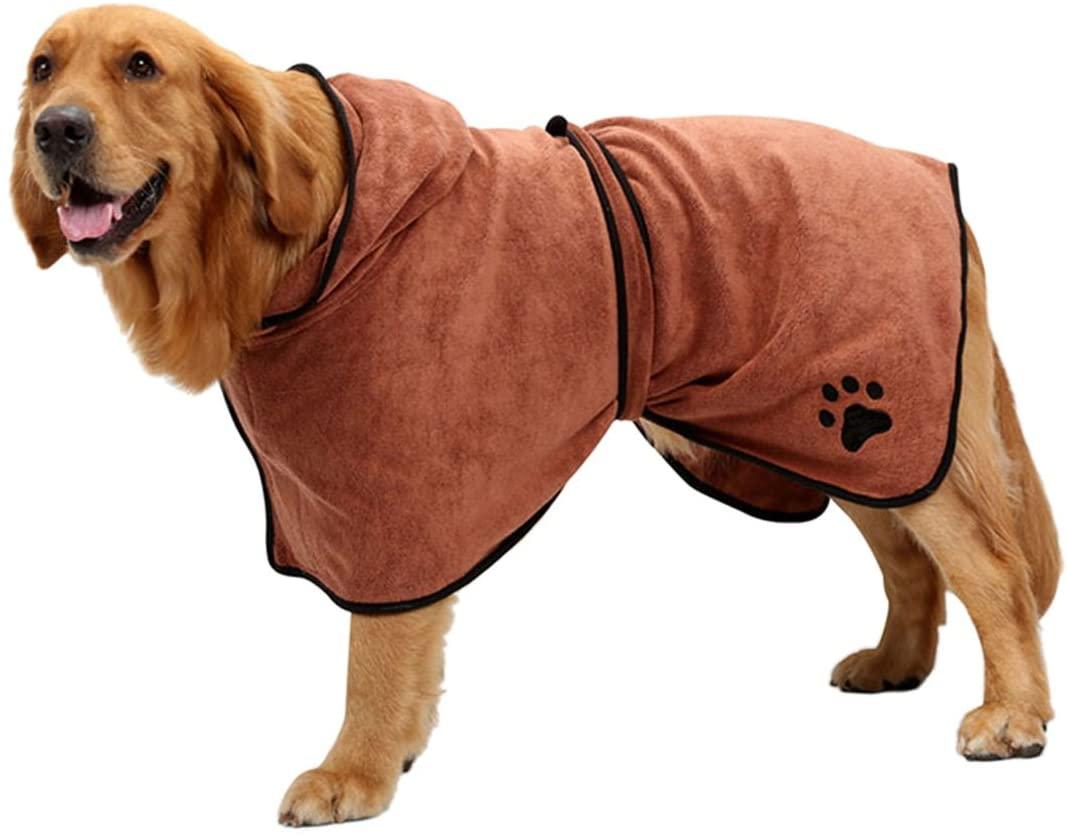 Uheng Pet Dog Cat Bathrobe 400gsm Microfiber Quickly Absorbing Water Bath Towel
