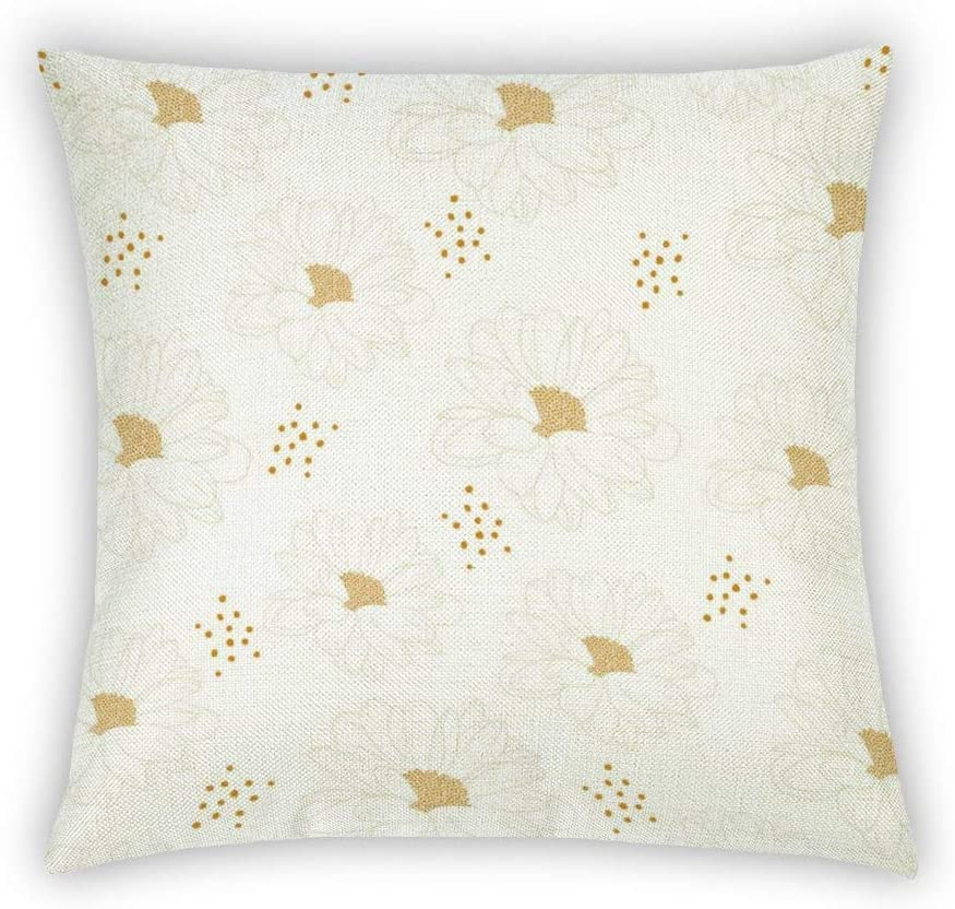 BYRON HOYLE Chrysanthemum Outline Flower Cotton Linen Cushion Cover Daisy Petal,Yellow Throw Pillow Cover 18x18 Inch Home Decorative for Couch Sofa