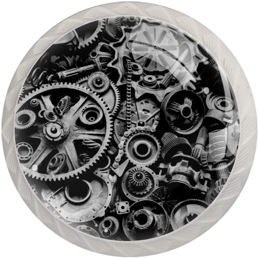 HadHfun Wardrobe knobs Machine Parts Dresser knobs Decorative Cabinet knobs and pulls for Farmhouse Kitchen 4 Pack 3.5×2.8CM