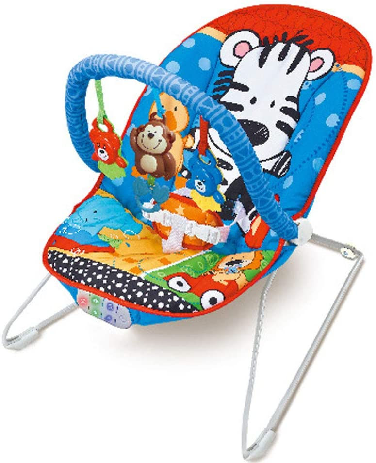 KJHKT New-Born Baby Bouncer, Soothing Vibration Baby Bouncing Rocker Reclining Chair with 3 Hanging Toys and Music, Suitable from Birth Kids,Red