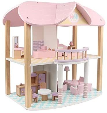 Brain Game Doll House, Simulated Wooden Double-Layer Castle Baby Doll House, Pink Double-Storey Villa Play House Girl Toys for Surprise Gift Safe and Harmless