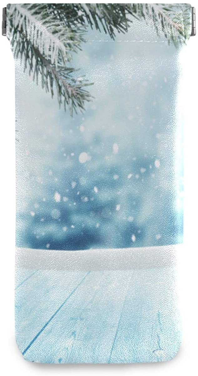 Eyeglasses Pouch Glasses Case - Merry Christmas Snow Squeeze Top Sunglasses Pouch Portable Anti-Scratch Eyeglasses Bag for Women Men