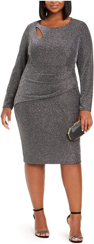 Xscape Womens Black Zippered Long Sleeve Jewel Neck Knee Length Sheath Evening Dress Size 18W