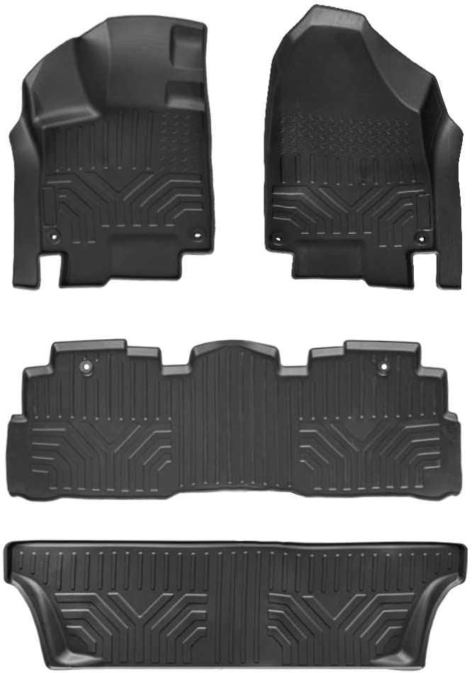 Black Floor Mat Compatible with 2018-2019 Honda Odyssey All Models 3 Rows Mats Liner Set All Weather Protection Automotive Accessoires (Black)