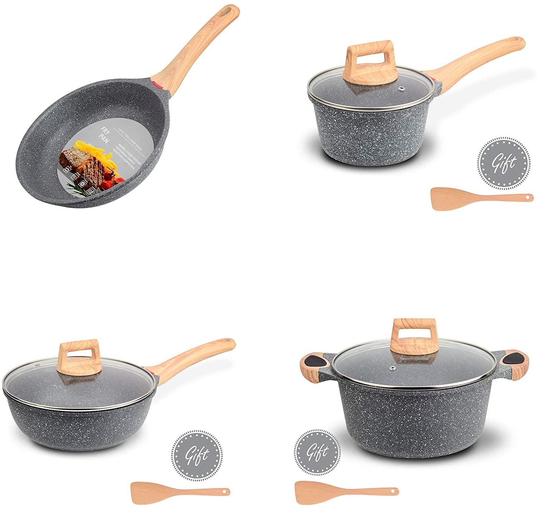 Hansubute Nonstick Induction Granite Stone 12inch Frying Pan,9.5inch Deep Frying Pan,2QT Sauce Pan and 9.5inch Casserole