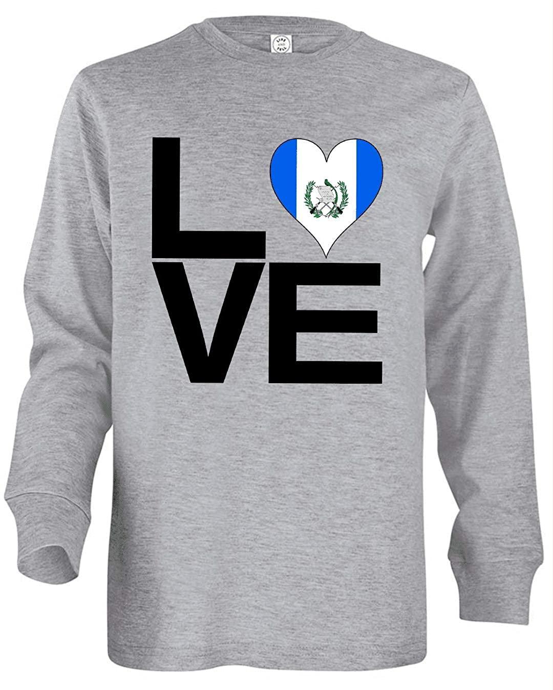 HARD EDGE DESIGN Girl's Youth Love Block Guatemala Heart Long Sleeve T-Shirt, Small, Heather Grey