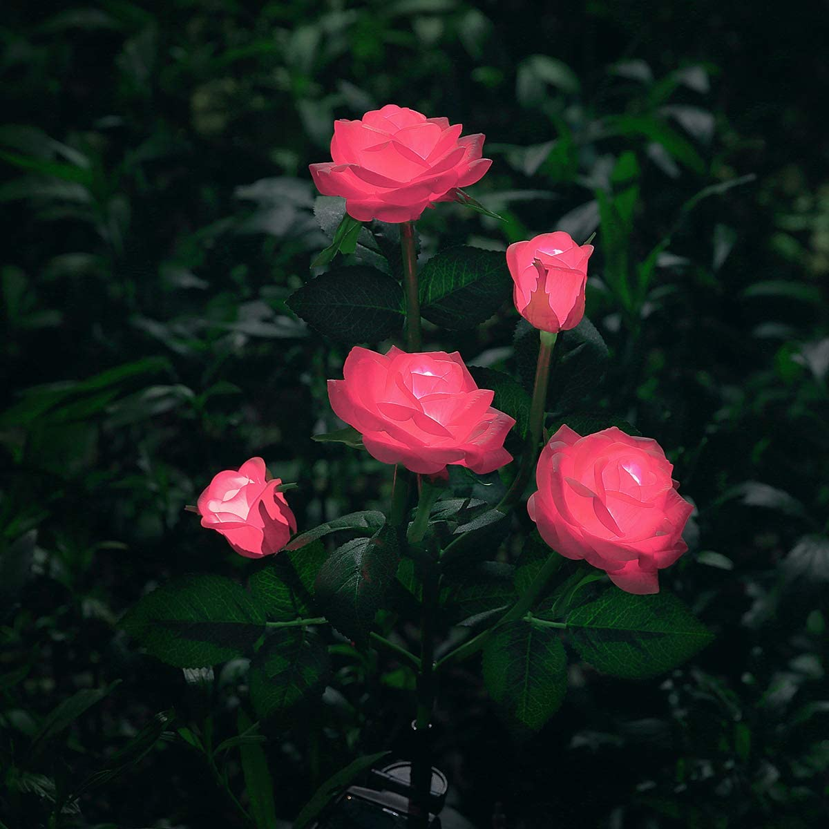 New Material Outdoor Realistic Solar Powered Rose Lights Flower Stake, for Garden Patio Yard Pathway Decoration, Pink