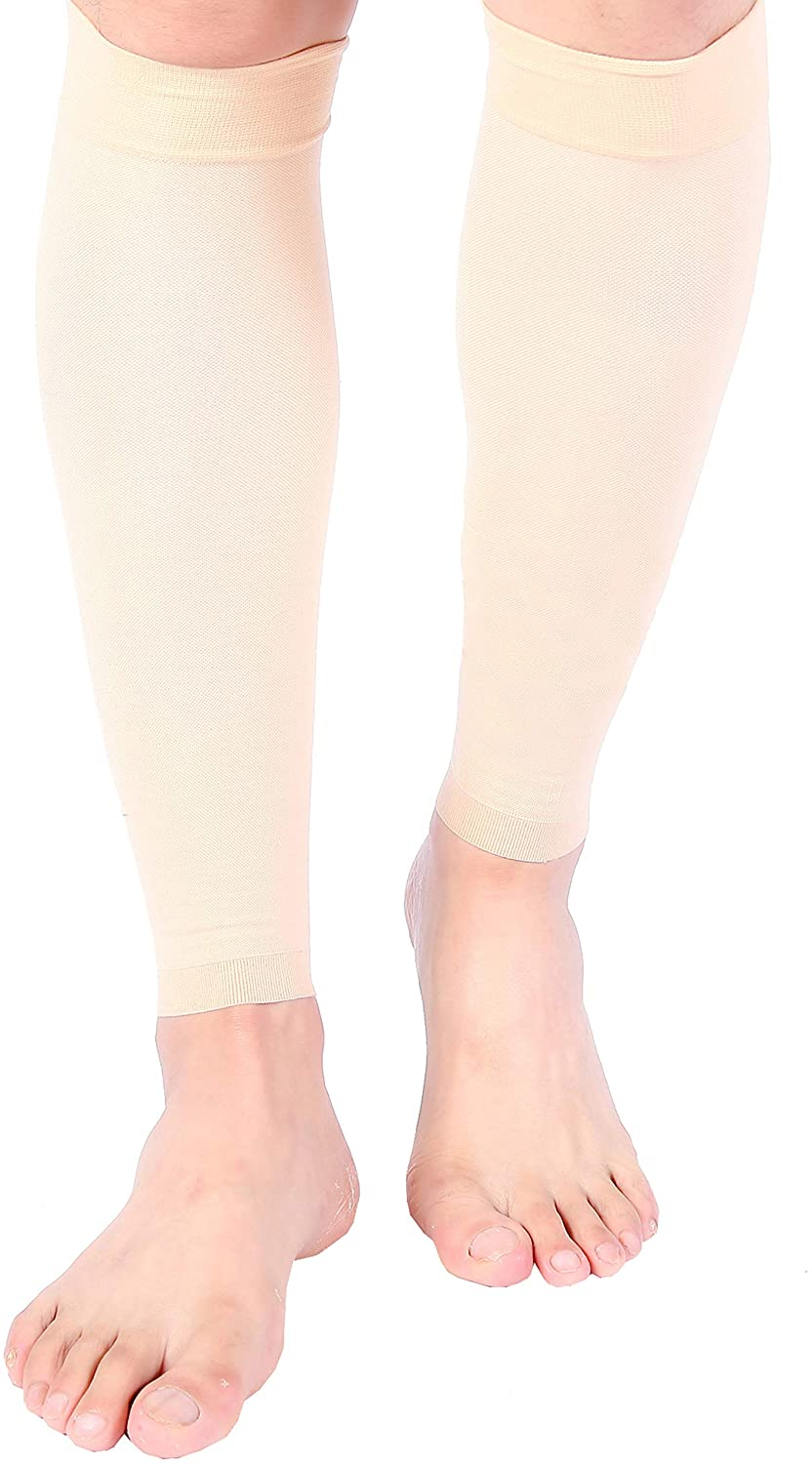 Doc Miller Calf Compression Sleeve 1 Pair 15-20 mmHg Firm Support Graduated for Sports Running Recovery Shin Splints Varicose Veins (2 Pair, Pale Skin, L)