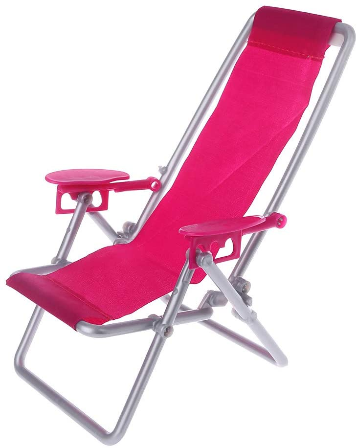 Folding Chair Doll Beach Lounger Dollhouse Furniture Cute Miniature Simulation Living Room Decoration House Game Gifts for Kids Children Accessories