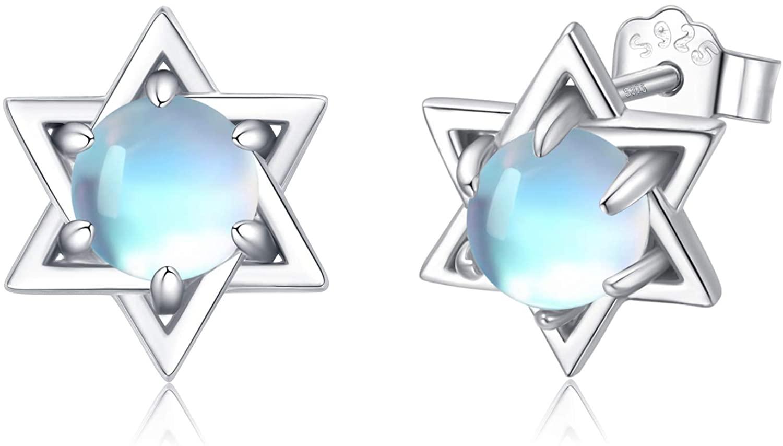 Star Earrings for Women,5mm Moonstone Stud Earrings Star S925 Sterling Silver Hypoallergenic Tiny Small Earrings Gifts Minimalist Jewelry for Sensitive Ears