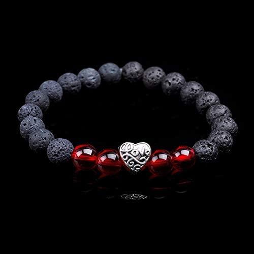 Regeek Strand Bracelets - New Fashion Women Men Energy Stone Bracelet Rainbow Heart Metal Beaded Charm Natural Tiger Eye Quartz Black Lava Stone Bracelets - (Metal Color: red Glass)