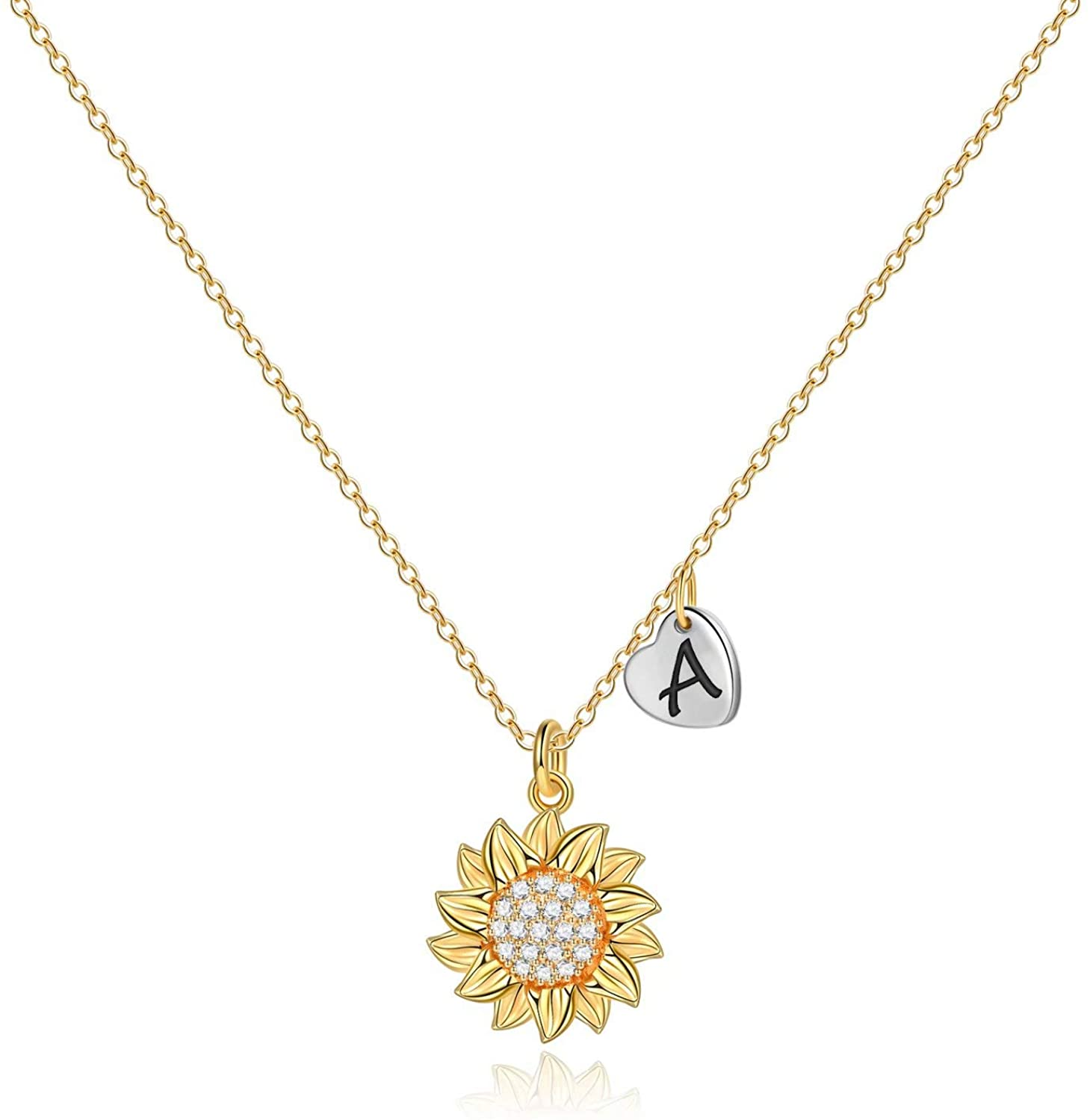 MONOOC Sunflower Necklace for Women Girls, 14k Gold Plated Initial Sunflower Pendant Necklace Jewelry Gifts Dainty You are My Sunshine Letter Initial Necklaces for Women