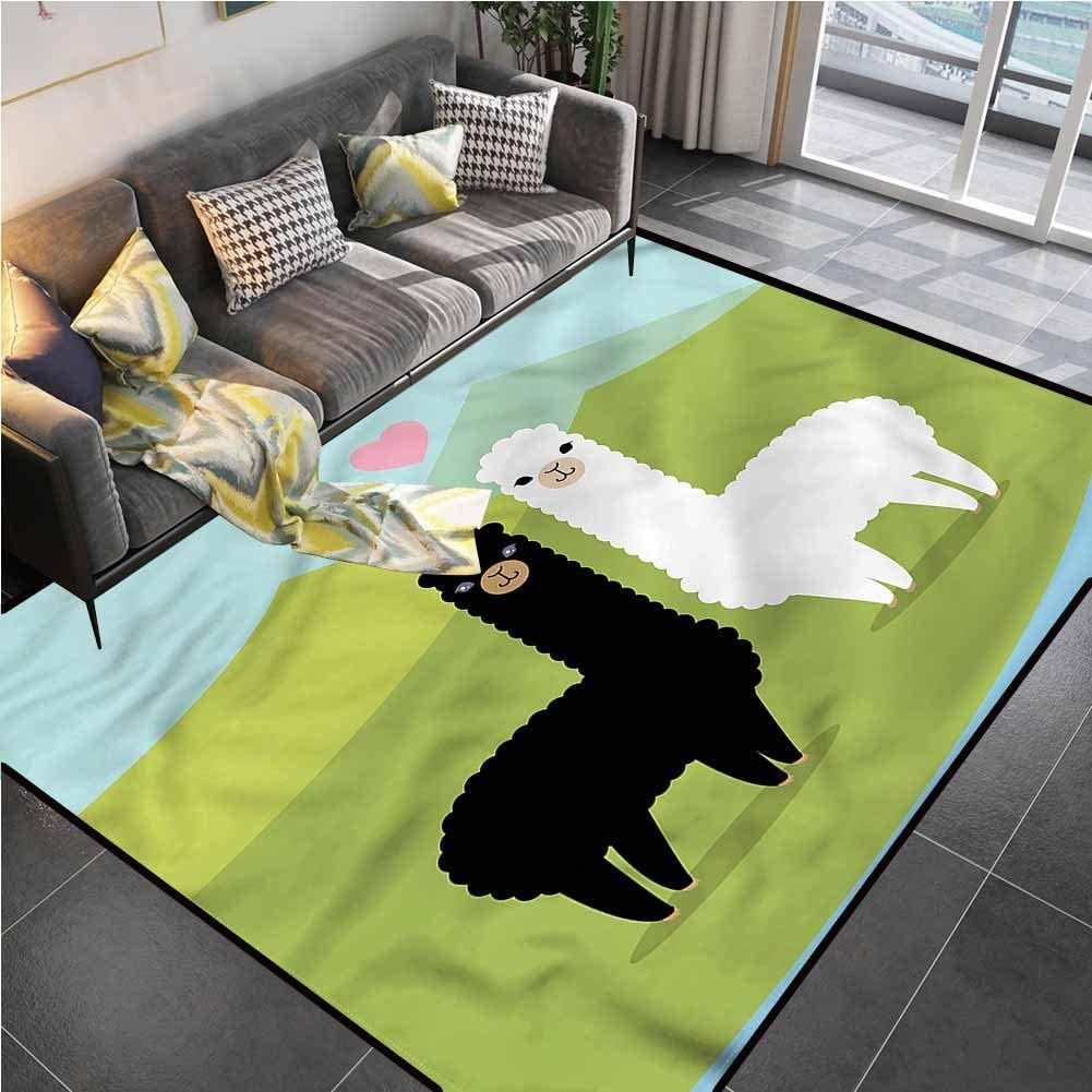Area Rug Print Large Rug Mat Llama,Animals in Love on Hill Kids Carpet playmat Rug for Living Room Bedroom Playing Room 6'x9'
