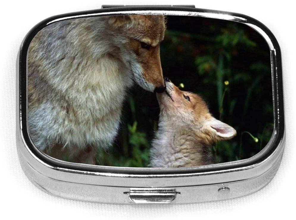 Love Baby Dogs Animals Wolf Designer Stainless Steel Square Slim Design Mini Pill Box Holder