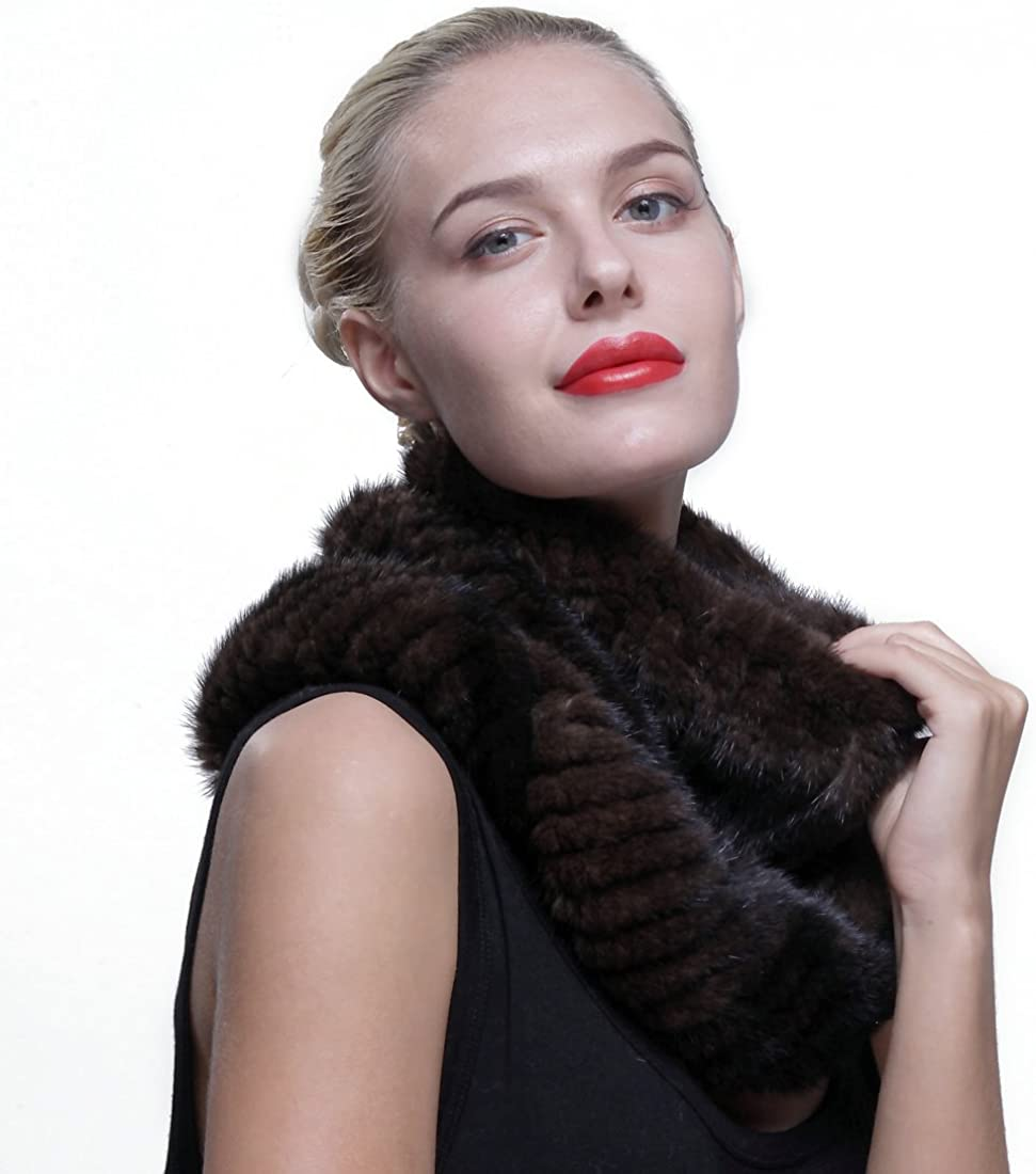 URSFUR Authentic Knit Mink Fur Infinity Hood Scarf Multicolor