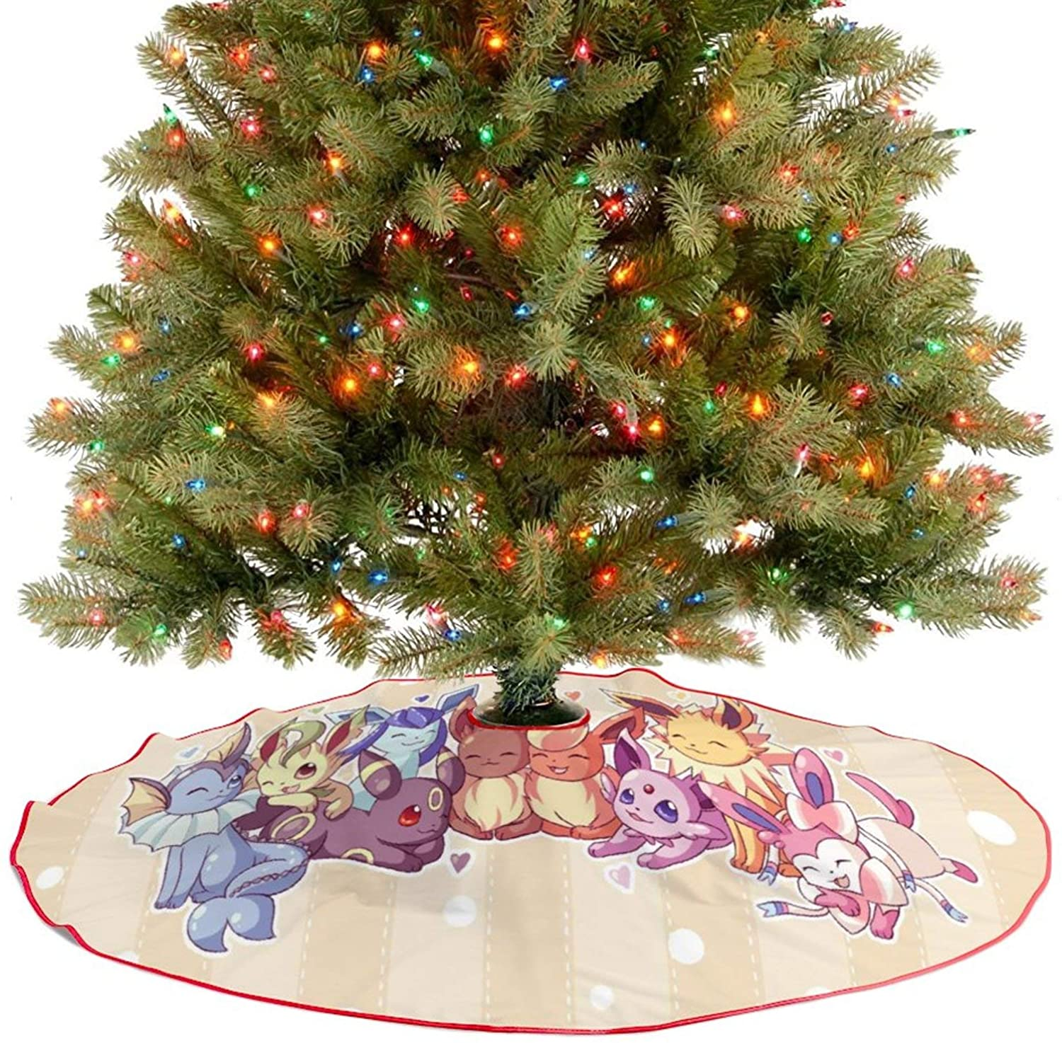 oobon Christmas Tree Skirt for Anime Fans,Eevee Evolutions (6), Xmas Holiday Party Ornament Supplies Large Santa Tree Mat Decor for Gift and Decoration, 30 inches