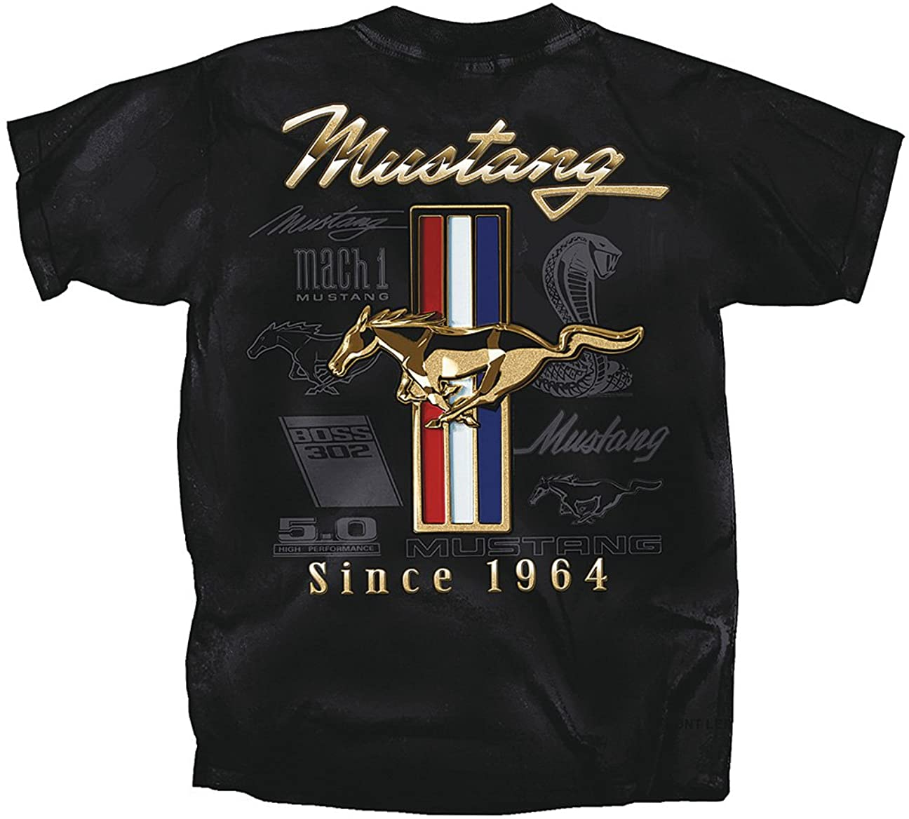 Ford Mustang Golden Tribar T-Shirt with 5.0, Boss, Tribal Pony Emblems
