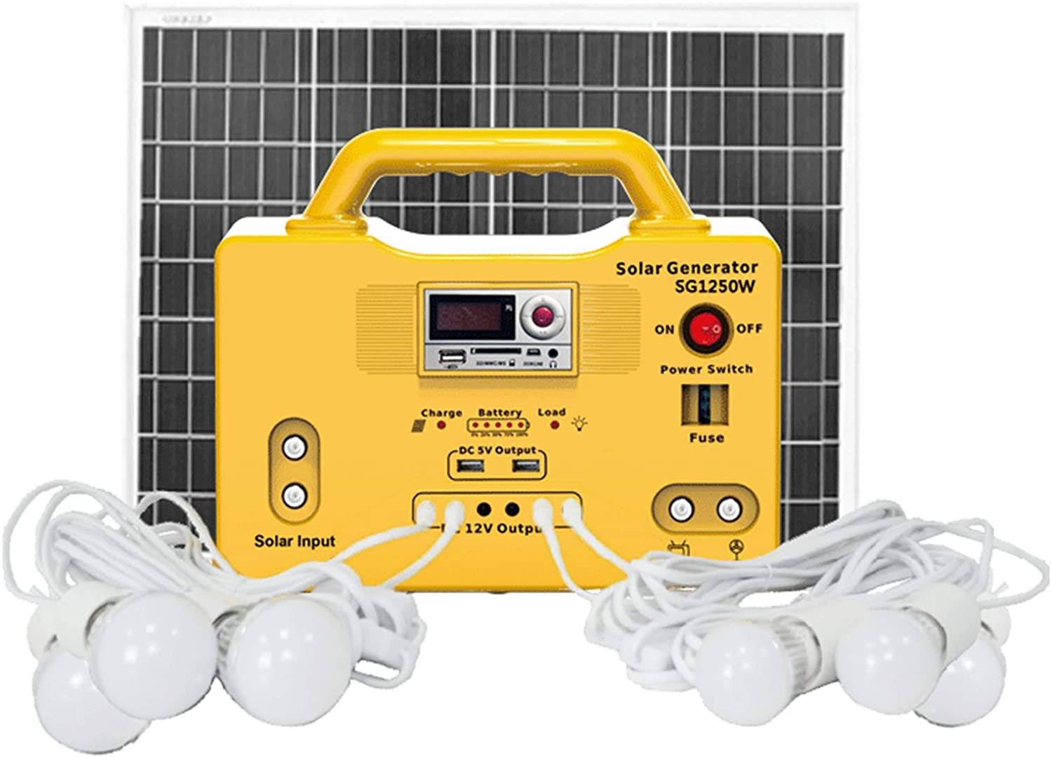 HPH 50W Portable Solar Generator Kit,Family Emergency Backup Power Supply Solar Power Station Radio MP3 with Solar Panel 6 LED Lights for Camping Power Failure Recharge Illumination