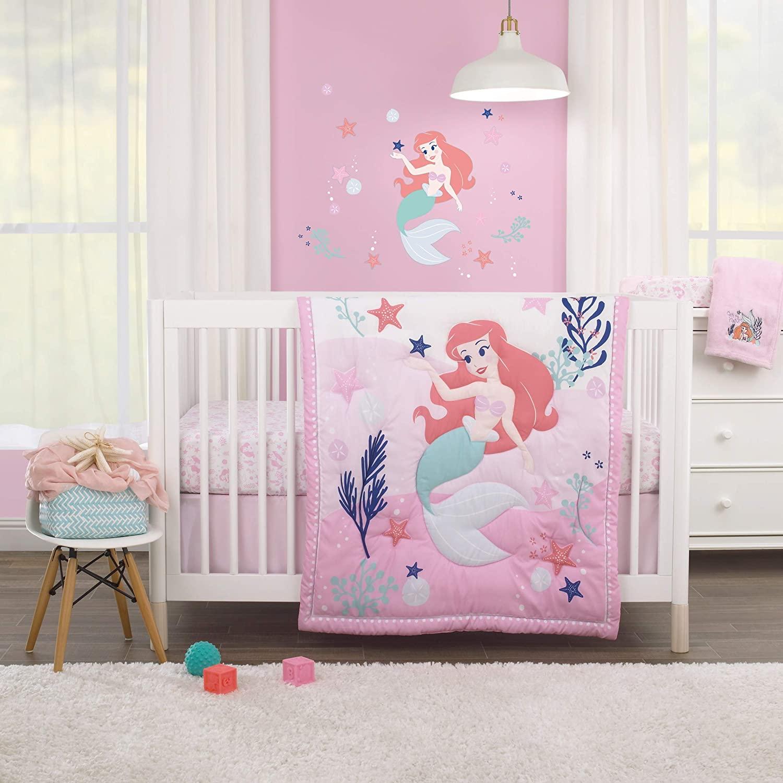 Disney The Little Mermaid Pink, Aqua, Coral Ariel Cute by Nature 3Piece Nursery Crib Bedding Set - Comforter, Crib Sheet, Dust Ruffle, Pink, Aqua, Coral, Navy