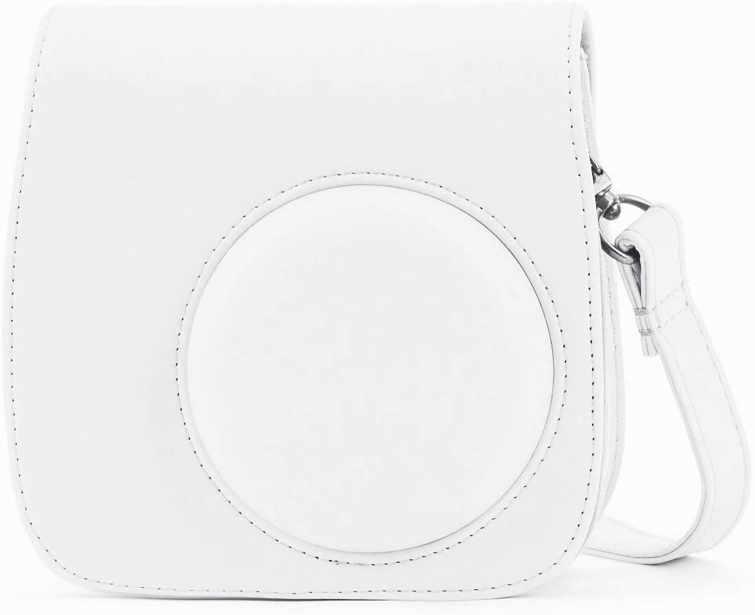 Phetium Soft PU Leather Protective Case with Shoulder and Pocket for Fujifilm Instax Mini8 8+/Mini9 Instant Camera (White)