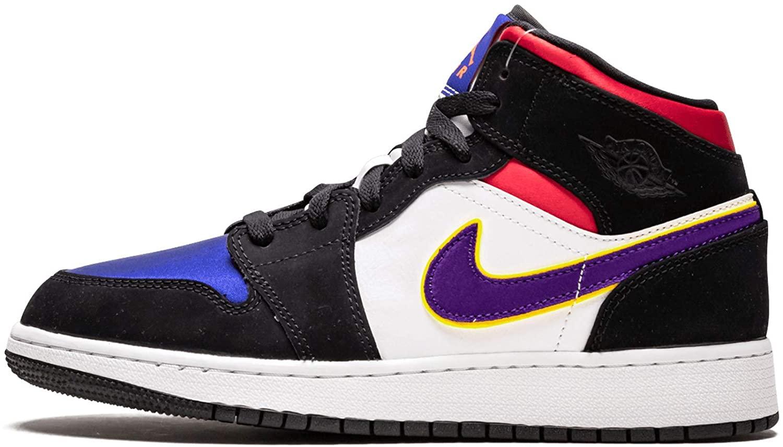 Jordan Nike Air 1 MID SE GS Kids Black/Royal Blue/Red BQ6931-005