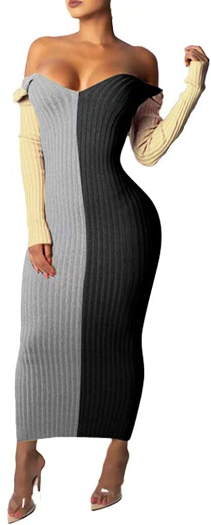 Women's Sexy Stretchable Long Sleeve Maxi Sweater Off Shoulder Knit Slim Fit Dress