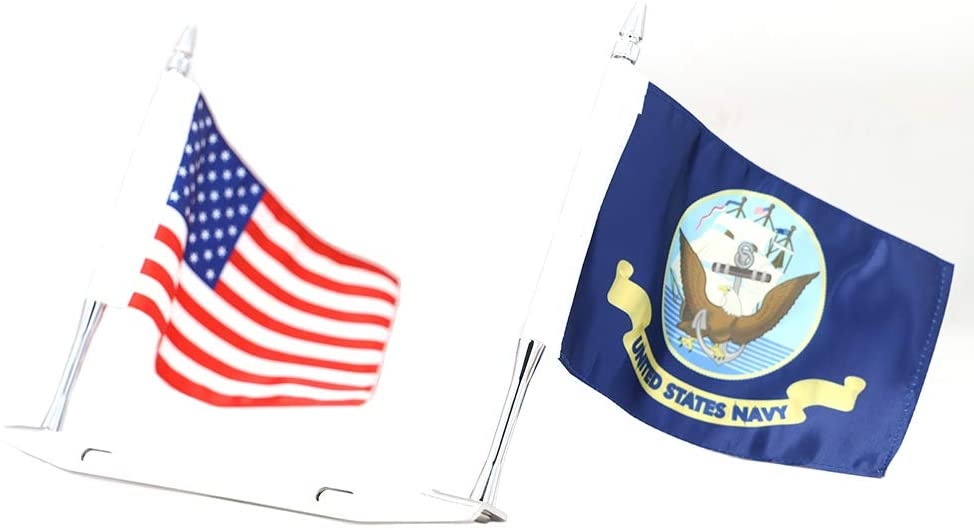 GUAIMI License Plate Mounted Double Flag Holder Double Motorcycle Flags (American Flag + U.S. Navy Flag)