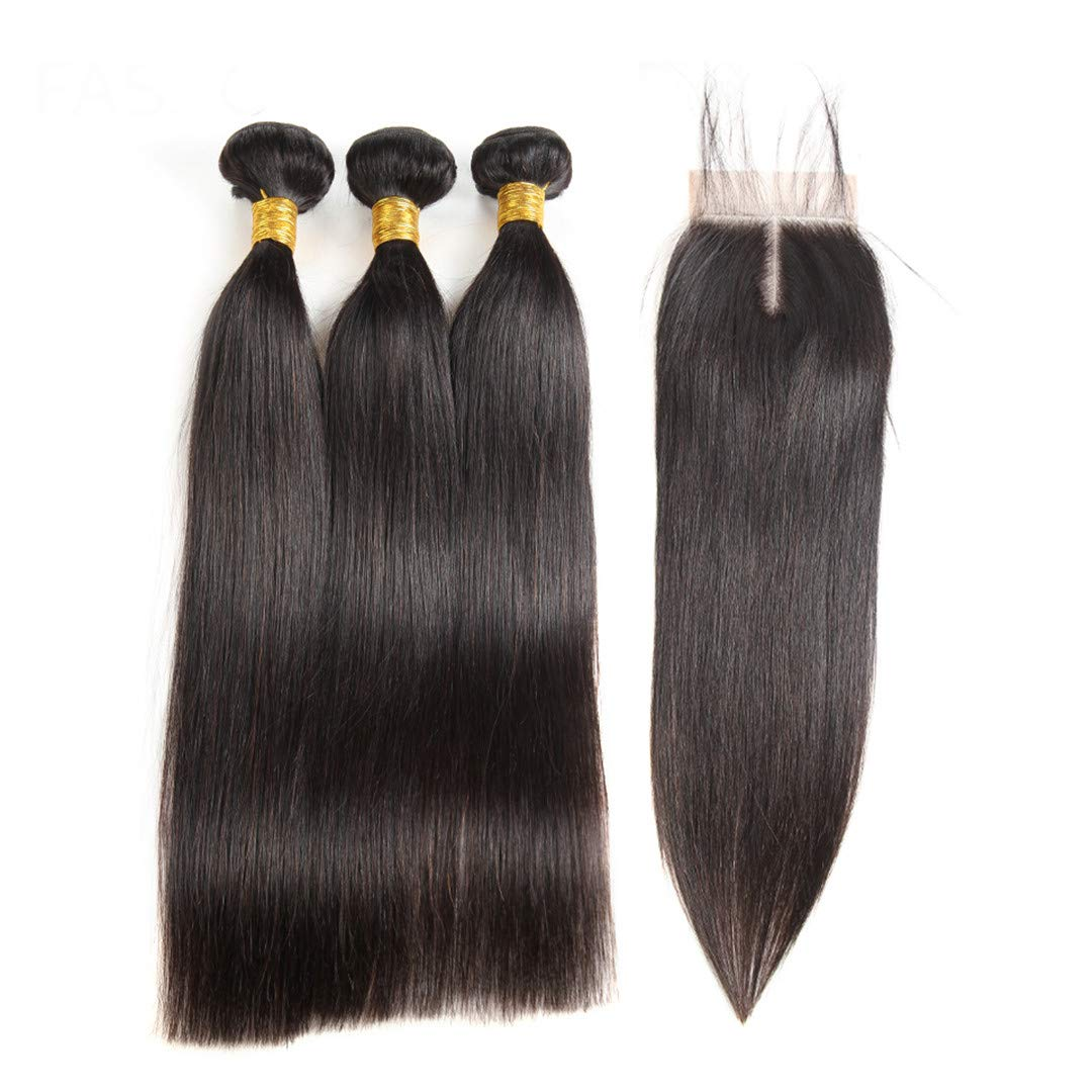 Malaysian Straight Hair 3 Bundles With Closure 4 Pcs/Lot Human Hair Bundles With Closure 100% Human Hair Non Remy Natural Color 22 24 24 & Closure18 Middle Part