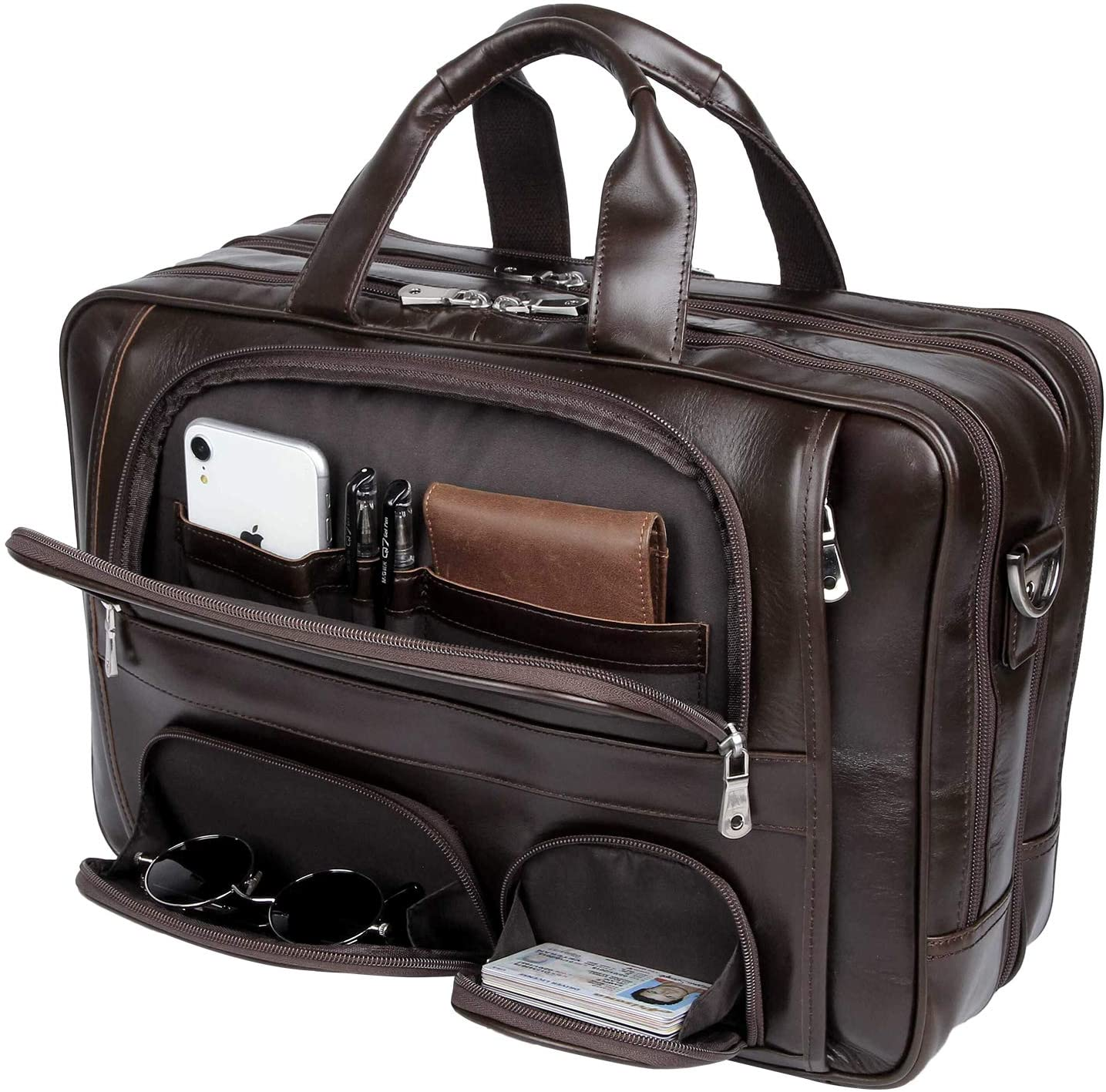 Texbo Napa Leather Briefcase for Men Fits 17 Laptop Large Business Messenger Bag with YKK Zippers