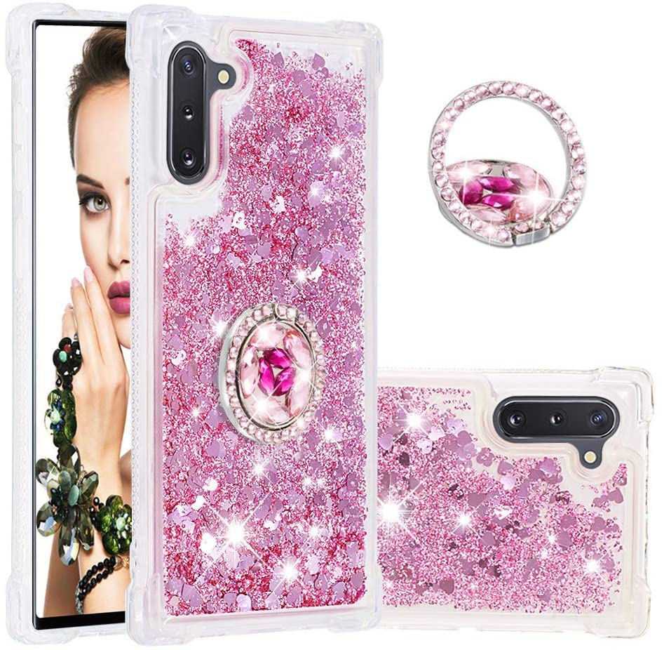 Galaxy Note 10 Case, DOOGE Luxury Diamond Glitter Bling Crystal Case for Women Girls Full-Body Protective Bumper Case with Built-in Finger Ring Kickstand Holder for Samsung Galaxy Note 10 in 6.3inch
