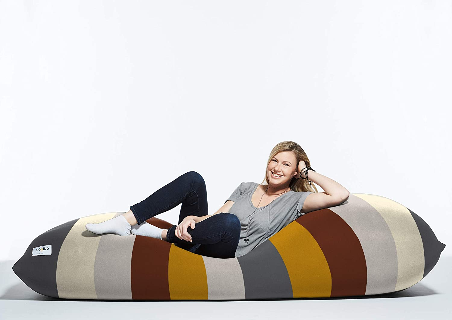 Yogibo Max 6-Foot Beanbag Chair, Bean Bag Couch with a Washable Outer Cover, Customer Favorite Cozy Sofa for Gaming, Reading, and Relaxing, Filled with Soft Micro-Beads, Rainbow Neutral