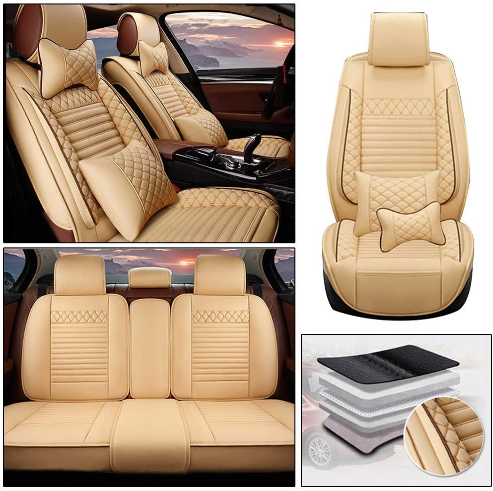 Maiqiken Custom Car Seat Cover for Subaru Forester Outback Legacy XV WRX Impreza BRZ Tribeca 5-Seat PU Leather Seat Pad Protector Full Set (Luxury)