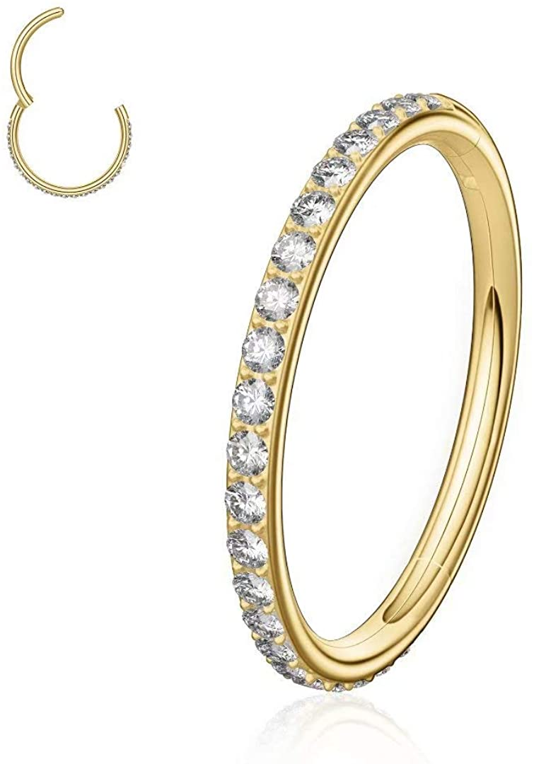 M MOOHAM 316L Surgical Steel 18G 16G Cubic Zirconia Opal Cartilage Earring Conch Hoop Nose Rings Daith Tragus Helix Earring Piercing Jewelry for Women, 6mm to 10mm Diameter, Gold, Rose Gold, Silver