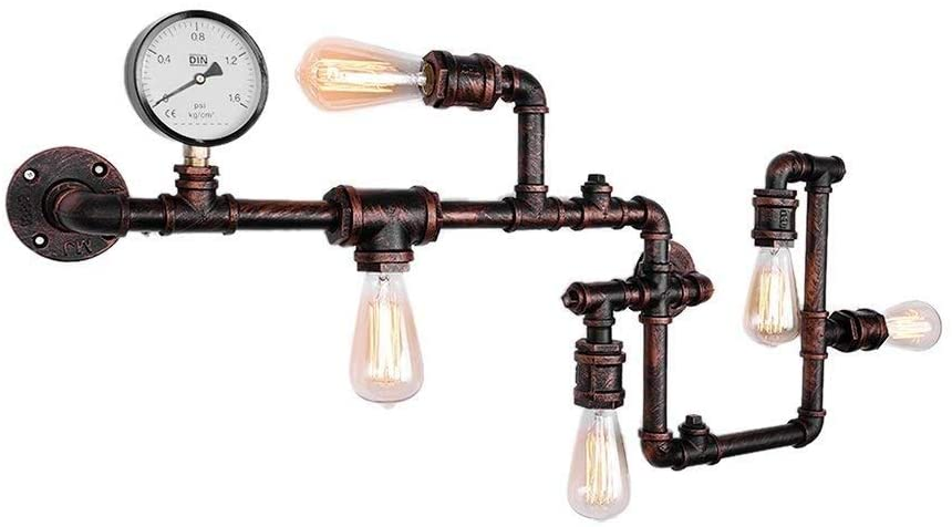 5 Lights Industrial Steam Punk Wall Lamp Sconces Industrial Steampunk Tube Wall Lights Unique Antique In Rust Finish For Retro Bar Loft Clothing Store