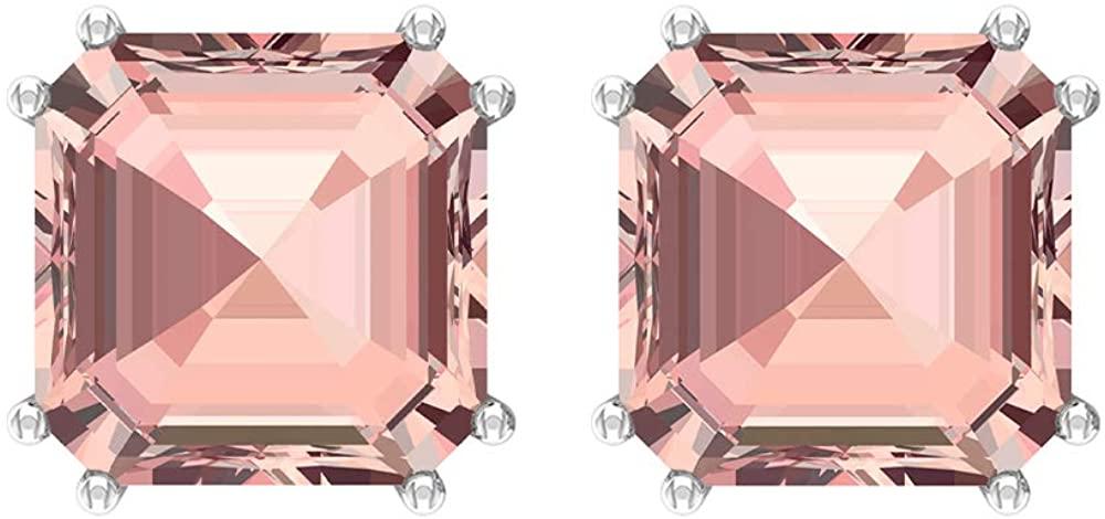 Asscher Stud Earrings, 10 CT Asscher Shaped 8 MM Lab Created Morganite Solitaire Earrings, Gemstone Jewelry, Asscher Cut Earrings, Gift for Girlfriend, Screw Back