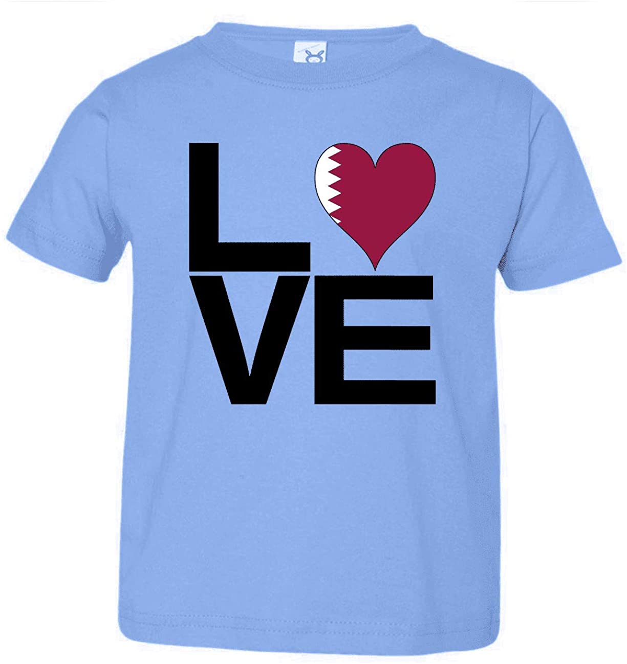 HARD EDGE DESIGN Toddler's Love Block Qatar Heart T-Shirt, 3T, Carolina Blue