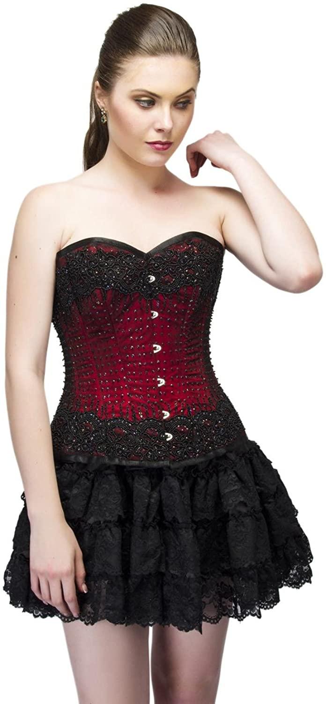 CorsetsNmore Red Satin Black Sequins Goth Burlesque Bustier Overbust Tutu Skirt Corset Dress
