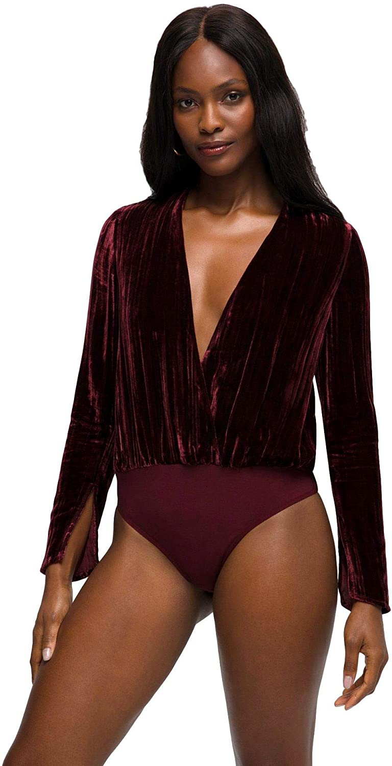 Good American Women's Velvet WRAP Bodysuit, PORT001, 2