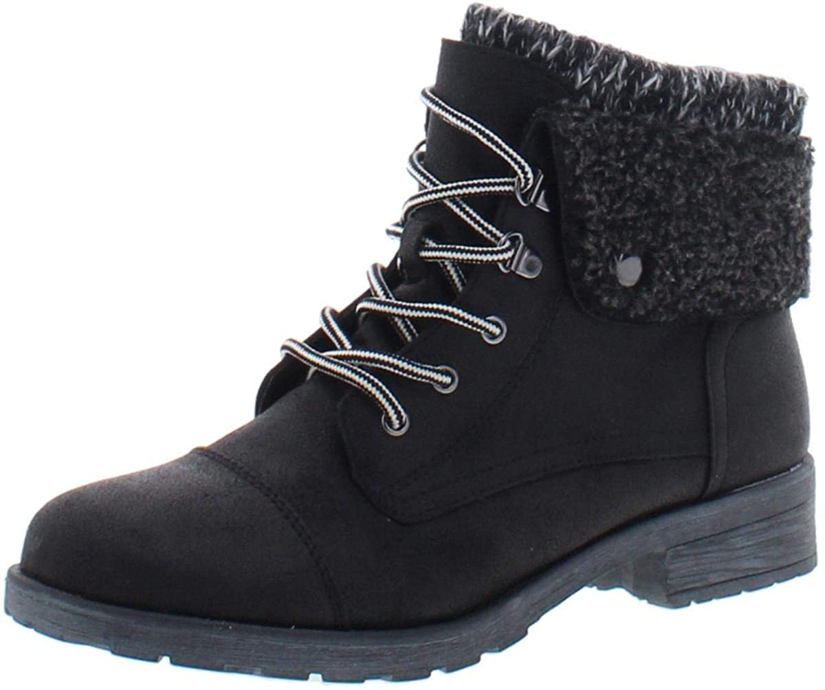 WHITE MOUNTAIN Womens Sandro Faux Leather Combat Boots