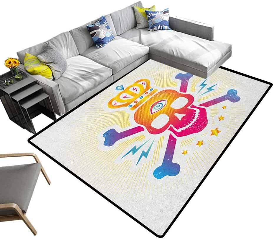 Bedside Carpet King, Home Bedroom Carpet Floor Mat Digital Print Skull with Crown and Bones Abstract Stars Design for Bedroom Play Room Game Yellow Hot Pink and Blue, 4 x 4 Feet