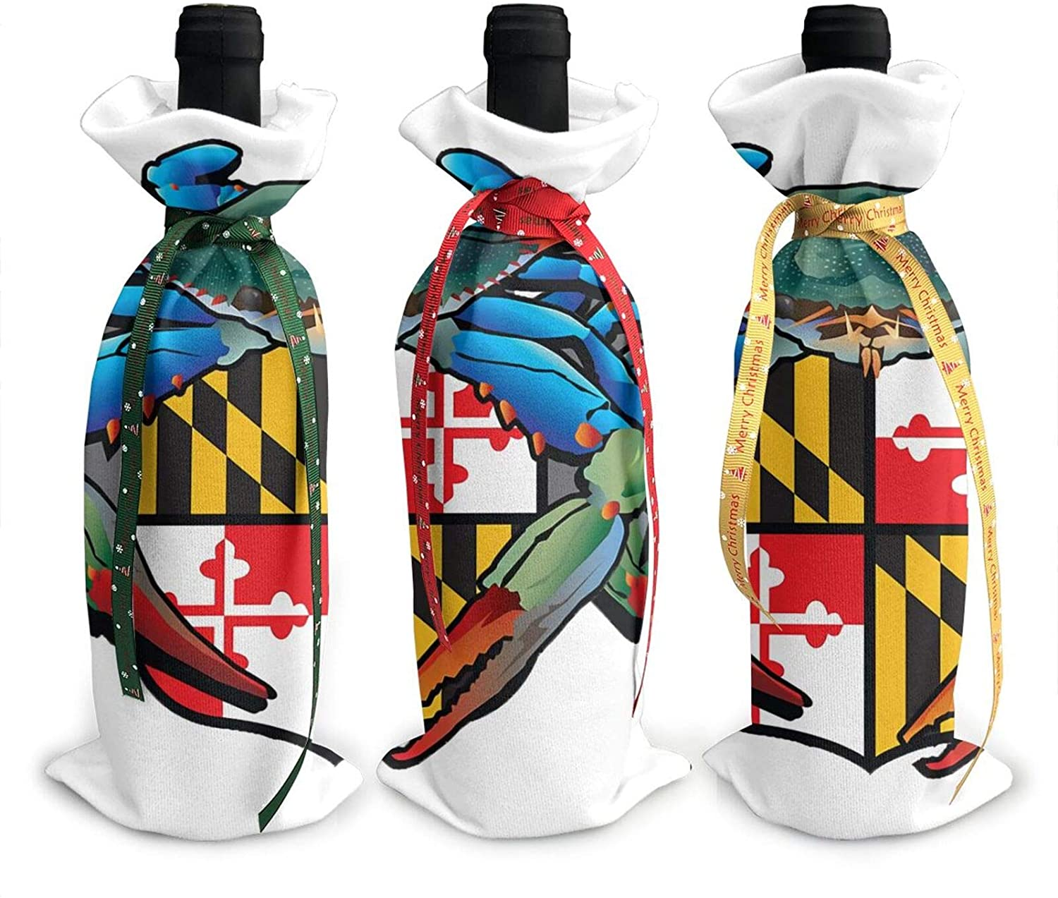 Maryland Crab Md Flag Christmas Party, New Year Unique Wine Bottle Set