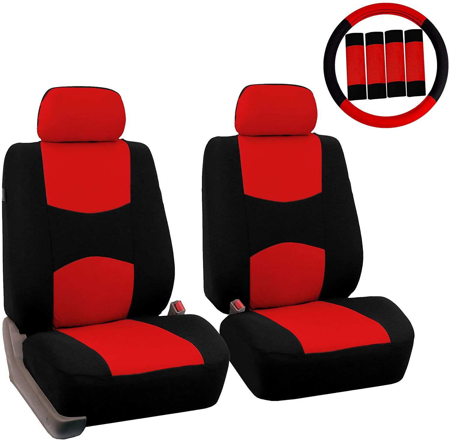 FH Group FB050102 Flat Cloth Seat Covers (Red) Front Set with Gift – Universal Fit for Cars Trucks & SUVs