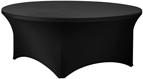 72 Inch Round Spandex Table Cover (Black)