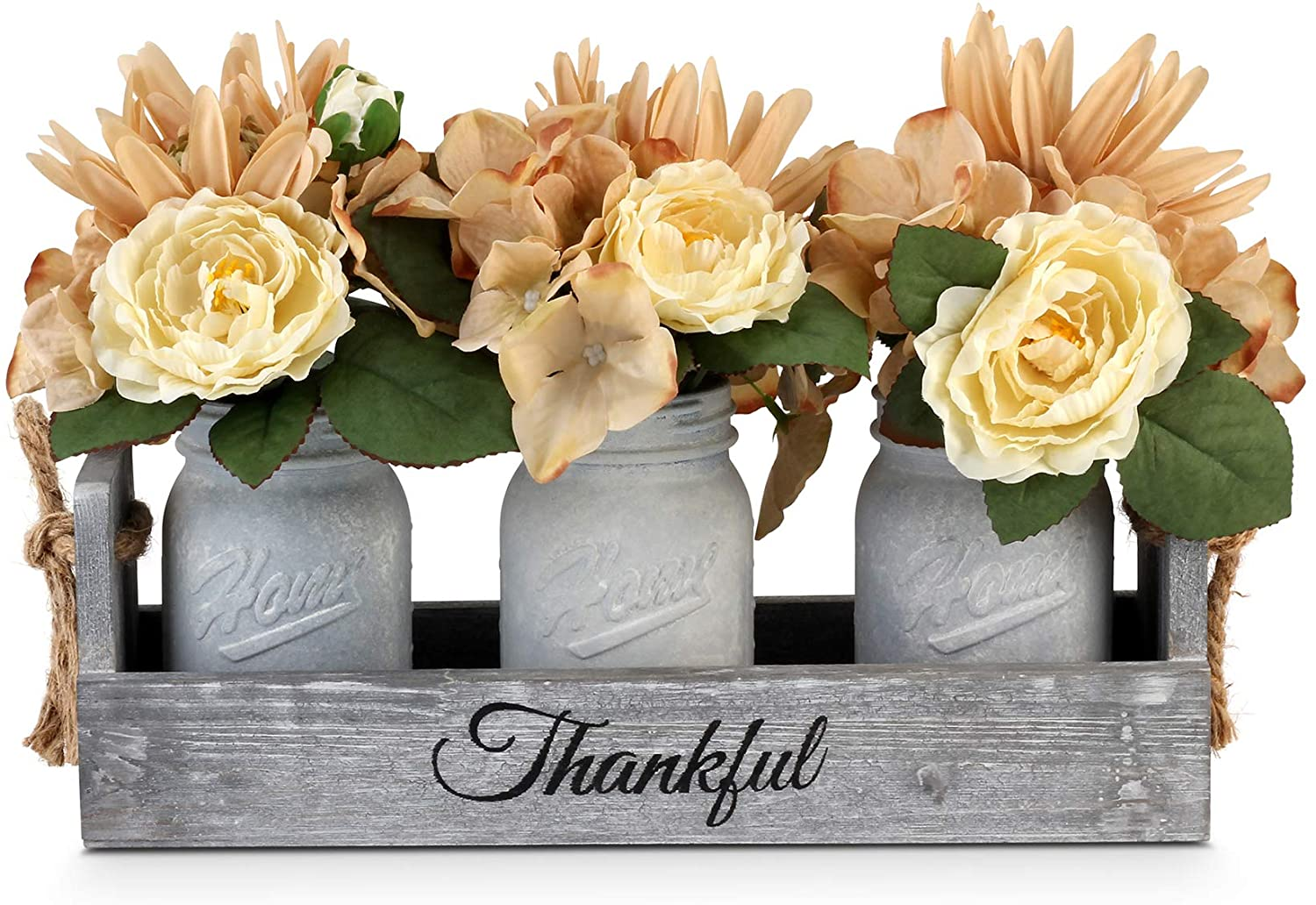 GBtroo Mason Jar Centerpiece – Handmade Table Decoration for Farmhouse Kitchen and Shabby Chic Rustic Wedding Decor – Antique White Glass Jars with Faux Flowers in Distressed Wood Box