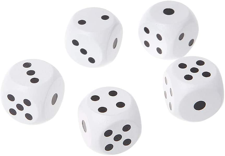 yuanhaourty 5pcs 20mm Dice Set Round Corner Wood Dice for Bar Nightclub Party Board Game Kid Toys