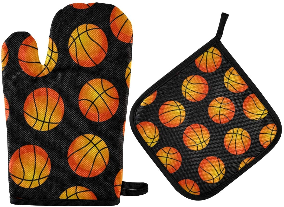 DOMIKING Oven Mitts Pot Holders Sets - Basket Balls Seamless Pattern Hot Gloves Heat Resistant Hot Pads Non-Slip Potholders for Kitchen BBQ Grilling Cooking