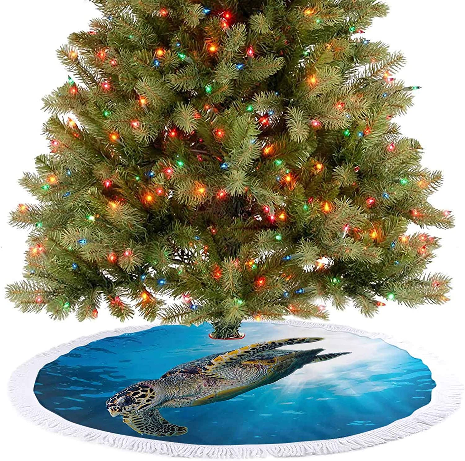 Tree Skirts Mat Sea Turtle Dive Deep Into The Blue Ocean Against Sun Rays Yellow Brown Xmas Tree Holiday Decorations Adds Warm and Charming Folksy Look to The Tree - 30 Inch