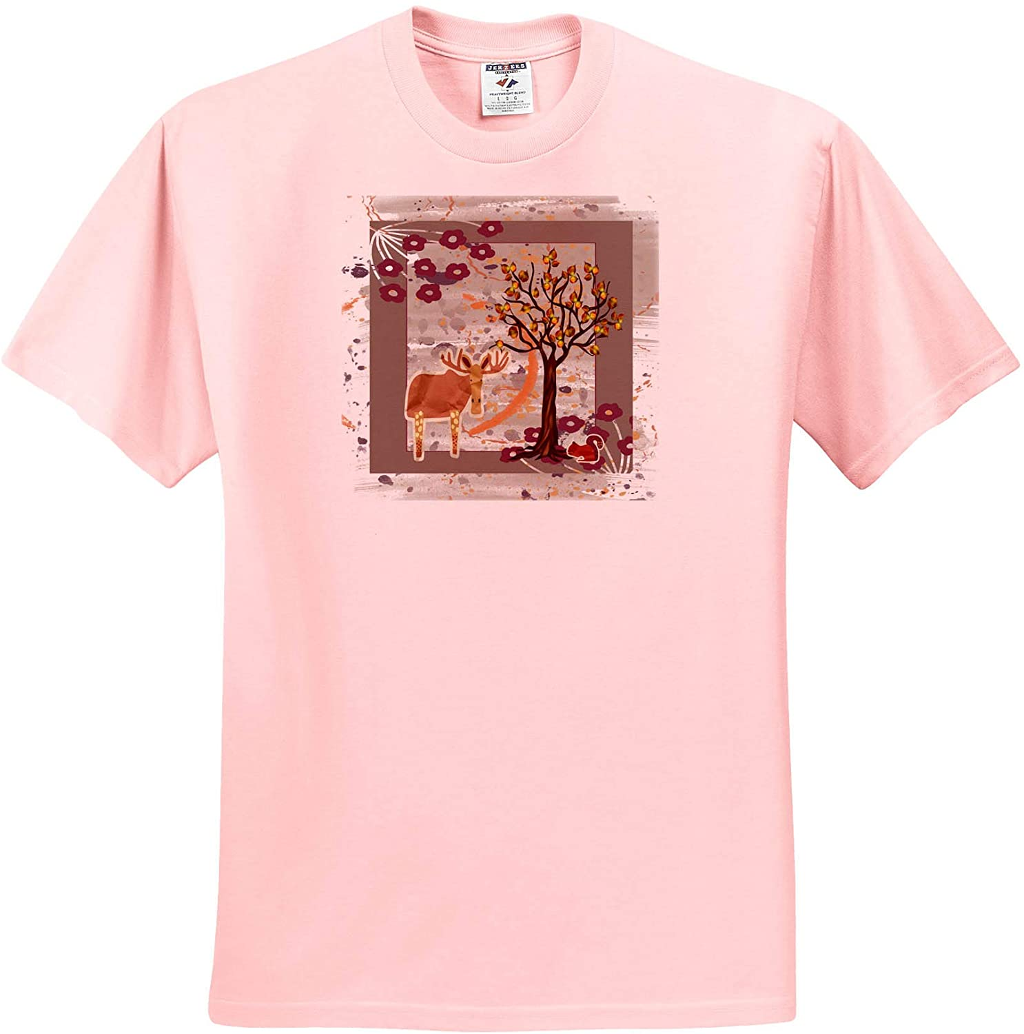 3dRose Beverly Turner Autumn Design - Autumn Moose, Squirrel Under Tree, and Flowers, Abstract - Youth Light-Pink-T-Shirt Small(6-8) (ts_328073_44)