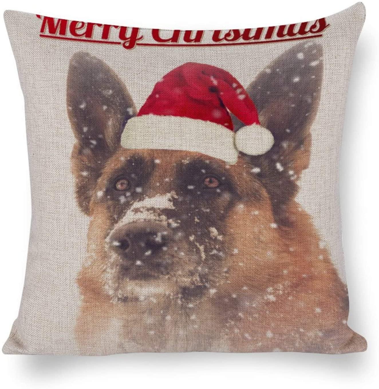Gorgeous Holiday German Shepherd Magnet Cotton Linen Blend Throw Pillow Covers Case Cushion Pillowcase with Hidden Zipper Closure for Sofa Bench Bed Home Decor 26x26