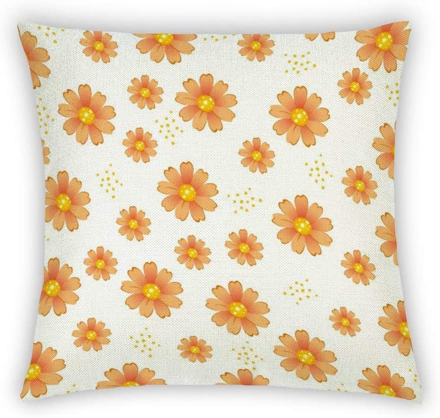 BYRON HOYLE Simple Orange Daisy Petal Cotton Linen Cushion Cover Wildflower Throw Pillow Cover 18x18 Inch Home Decorative for Couch Sofa